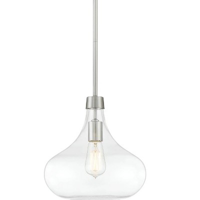 """Possini Euro Design Brushed Nickel Mini Pendant Light 11"""" Wide Modern Clear Glass Fixture for Kitchen Island Dining Room"""
