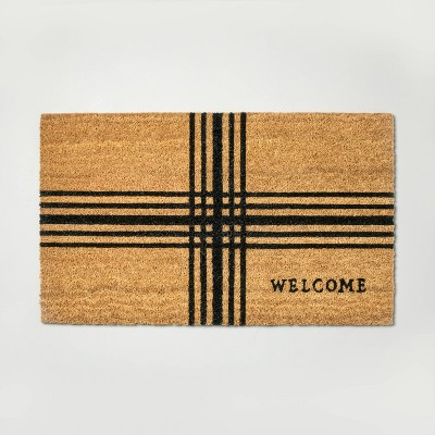 Cross Stripes 'Welcome' Coir Doormat - Hearth & Hand™ with Magnolia