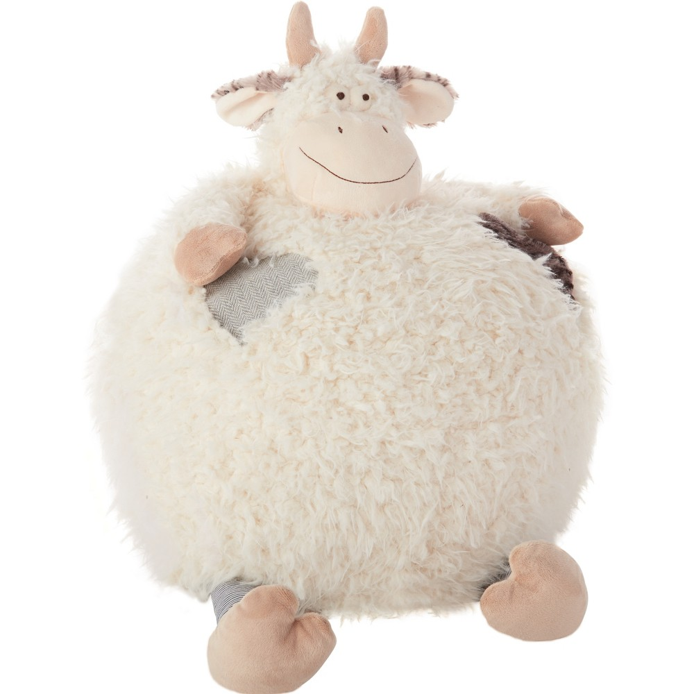 Image of Oversized Cow Plush Throw Pillow Ivory - Mina Victory