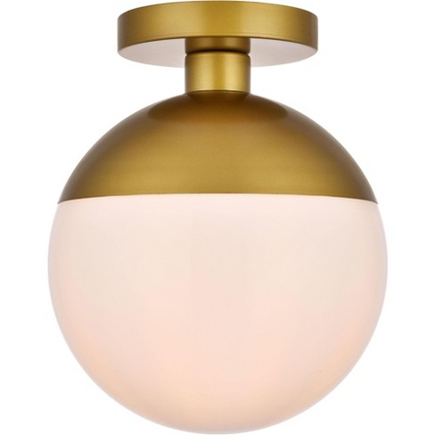 "Elegant Lighting LD6066 Eclipse Single Light 10"" Wide Semi-Flush Globe Ceiling Fixture with Frosted Glass - image 1 of 3"
