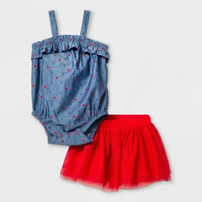 Baby Girls' Americana Tutu Top & Bottom Set - Cat & Jack™ Red 3-6M