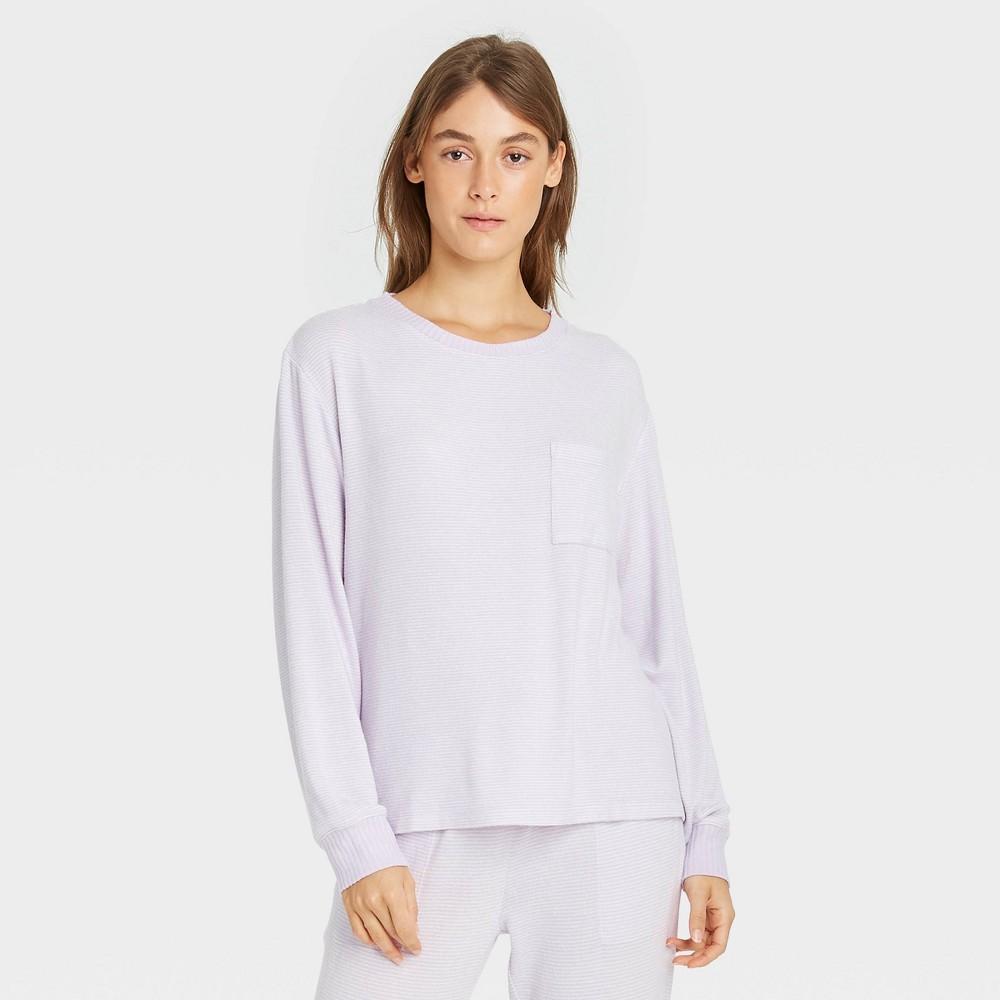 Women 39 S Striped Perfectly Cozy Lounge Sweatshirt Stars Above 8482 Purple Xs