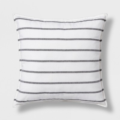 Woven Stripe Oversize Square Throw Pillow Gray - Threshold™