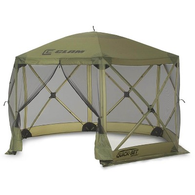 CLAM Quick-Set 12 x 12 Foot Escape Portable Pop Up Camping Outdoor Gazebo 6 Sided Canopy Shelter with Carrying Bag and Ground Stakes, Green
