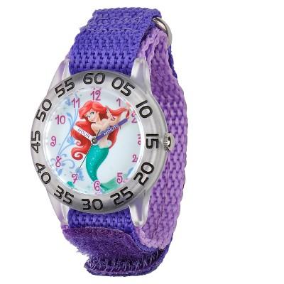 Girls' Disney Princess Ariel Clear Plastic Time Teacher Watch - Purple