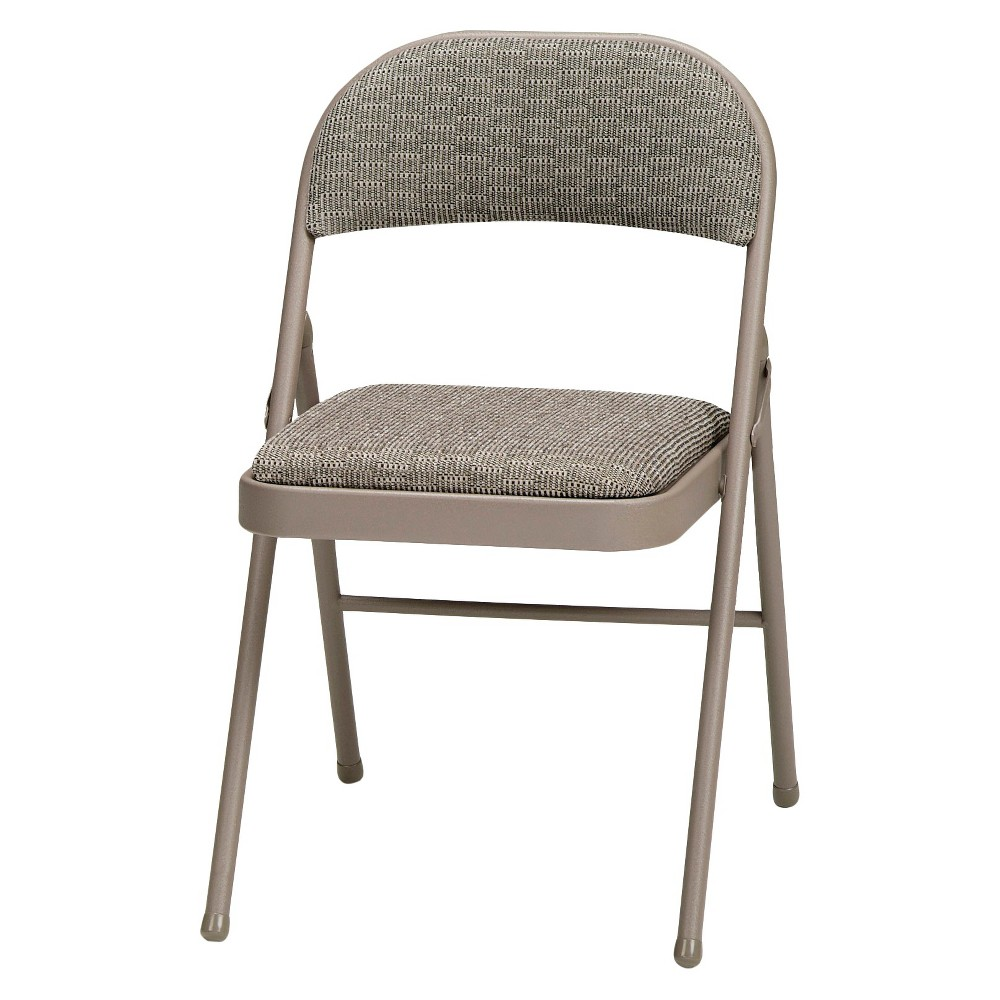4 Piece Deluxe Fabric Padded Folding Chair Chicory Lace Frame and Courtyard Fabric - Sudden Comfort, Gray