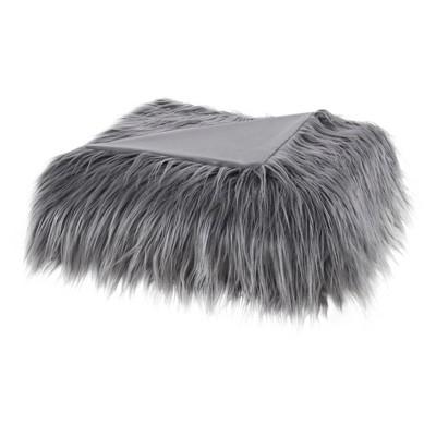 "Gray Adelaide Faux Fur Throw Blankets 50""x60"""