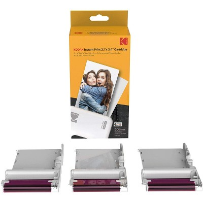 """Kodak 4PASS 2.1""""x3.4"""" Cartridge, All-in-One Paper and Color Ribbon Cartridge Refill 