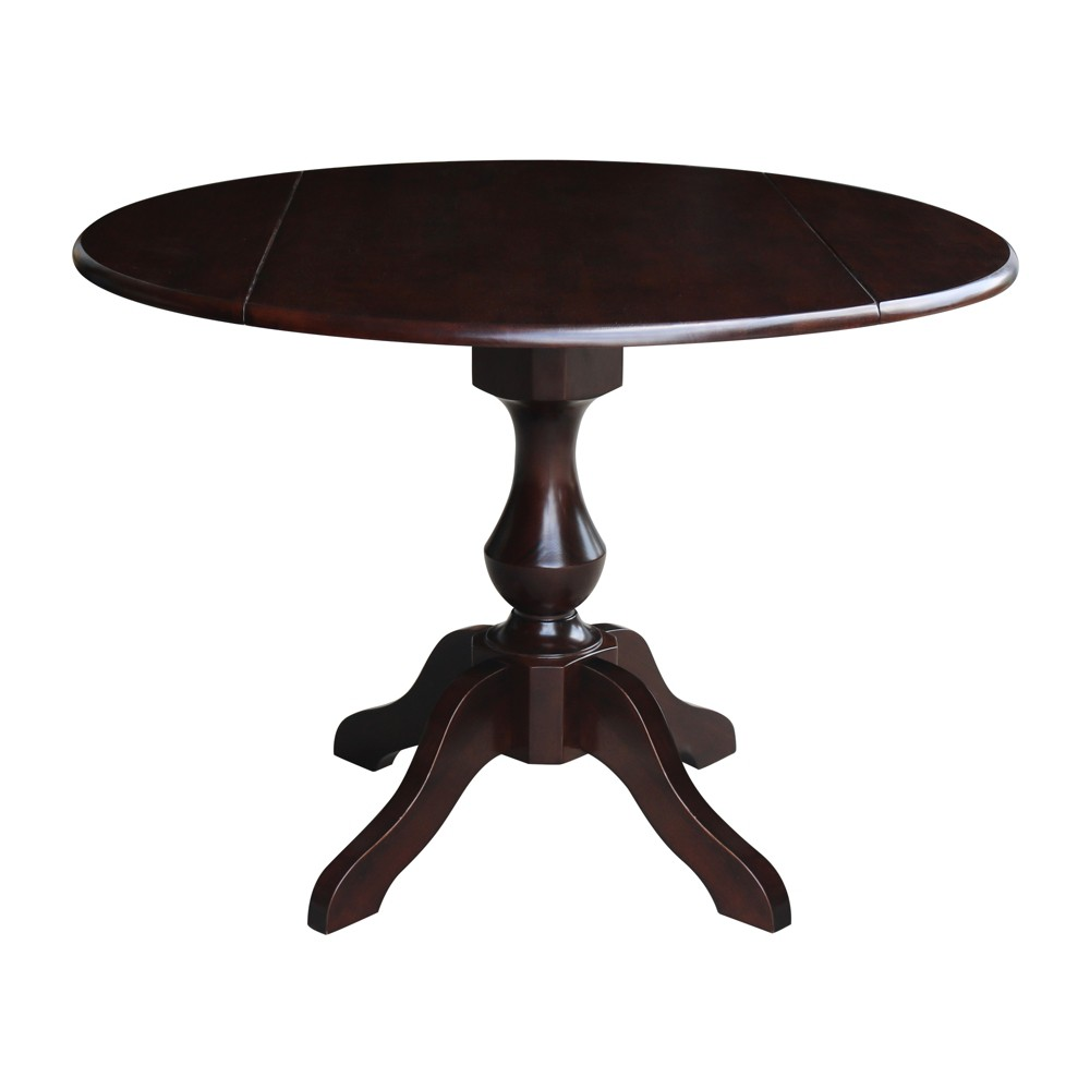 "Image of ""30.3"""" Candace Round Dual Drop Leaf Pedestal Table Mocha Brown - International Concepts"""