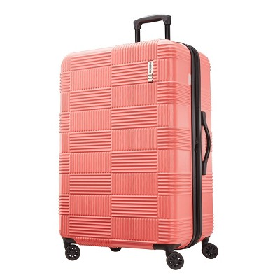 American Tourister 28  Checkered Hardside Spinner Suitcase - Coral