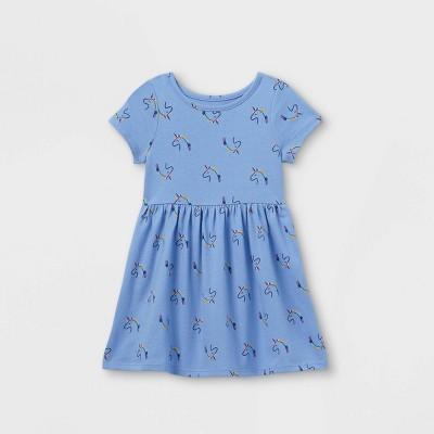 Toddler Girls' Short Sleeve Dress - Cat & Jack™ Blue 18M