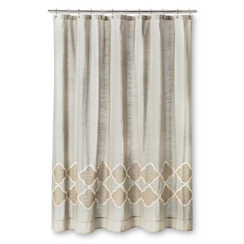 Embroidered Geometric Shower Curtain Gray Gold