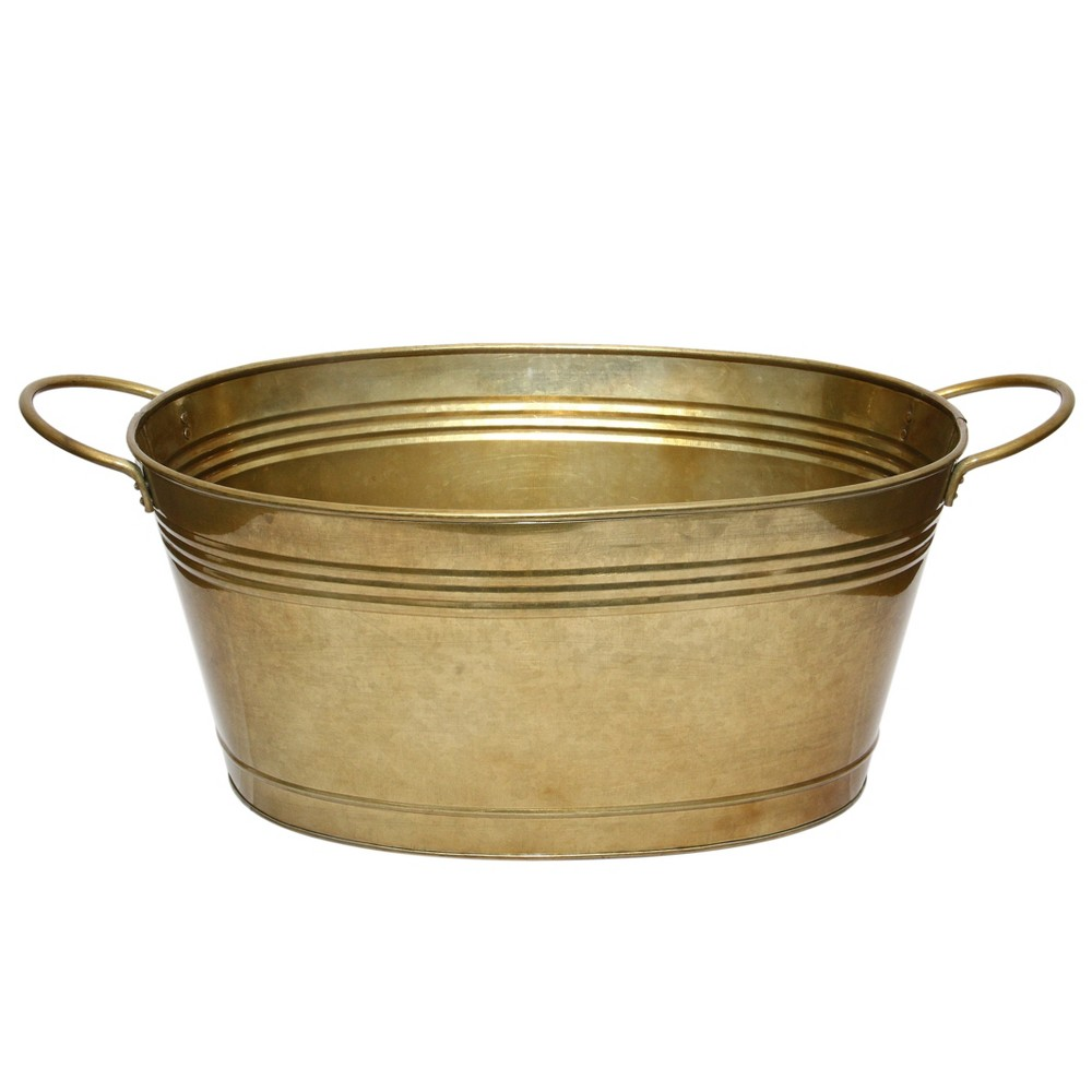 Image of Ferrum Galvanized Iron Handled Tub Large - AB Home Inc., Gold