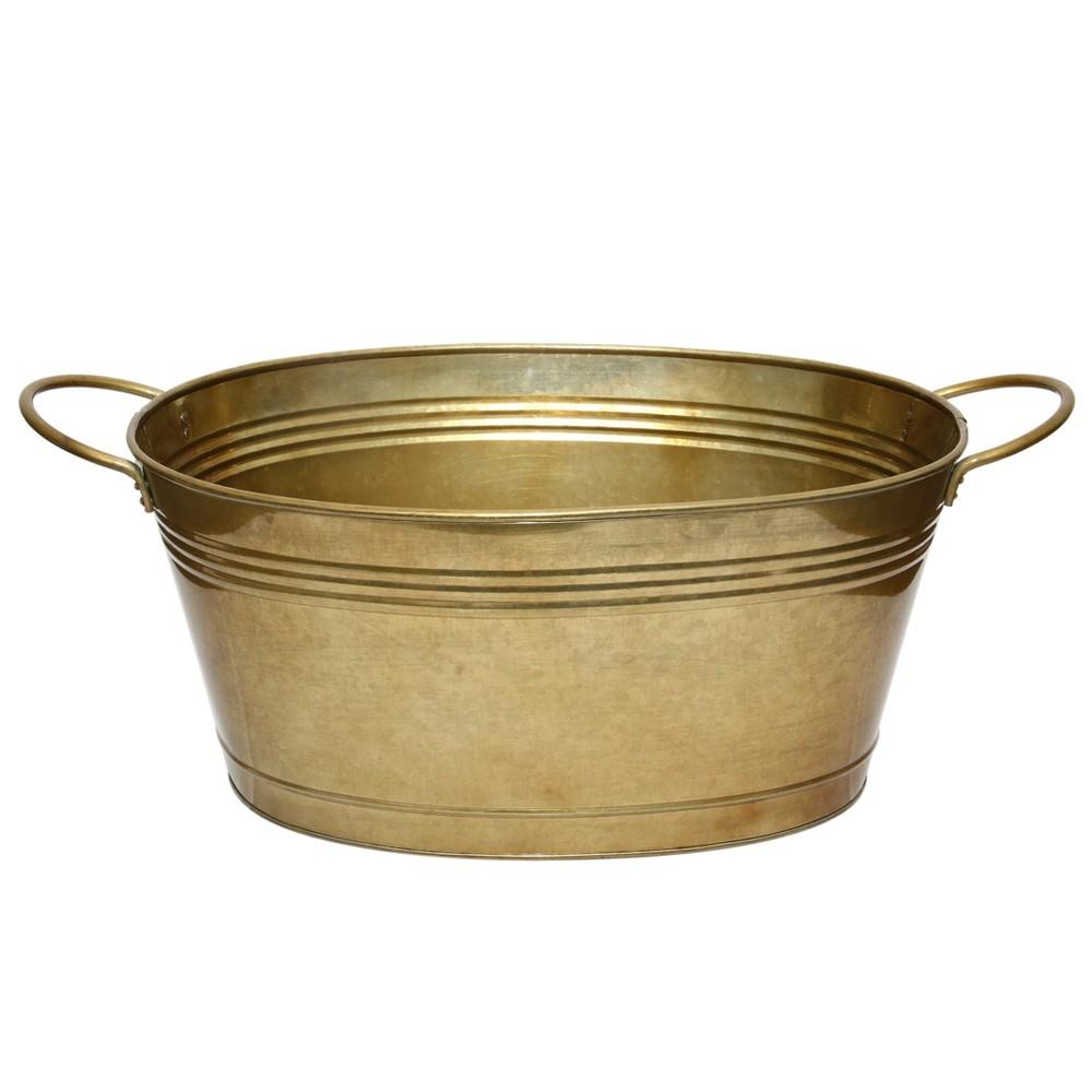 Image of Ferrum Galvanized Iron Handled Tub Large - AB Home Inc., Gold