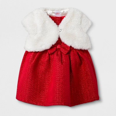 Baby Girls' 2pc Faux Fur Shrug and Jacquard Dress Set - Cat & Jack™ Red Newborn