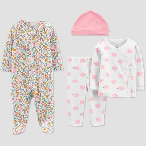Baby Girls' 4pc Animal Print Layette Set - Just One You® made by carter's Pink/Off-White - image 1 of 3