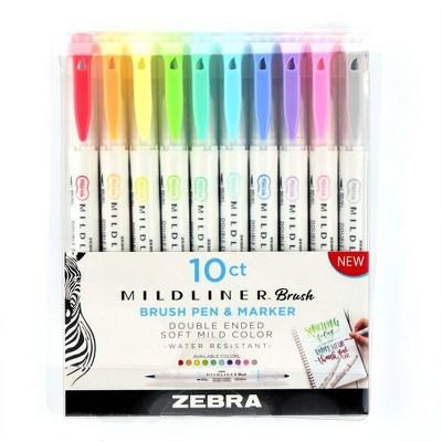 10ct Brush Markers Mildliner Double Ended - Zebra