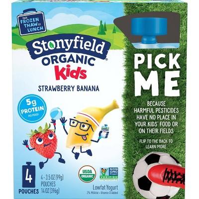 Stonyfield Organic Kids' Strawberry Banana Yogurt - 4ct/3.7oz Pouches