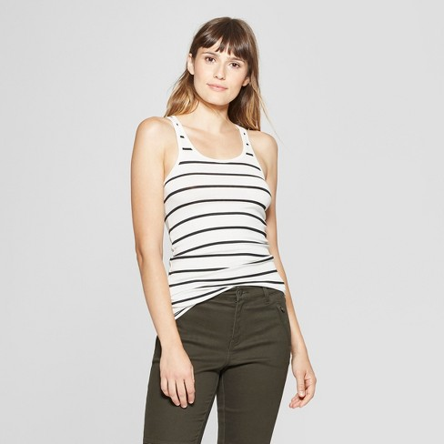 446915abef17f8 Women s Striped Racerback Tank - A New Day™ White Black   Target
