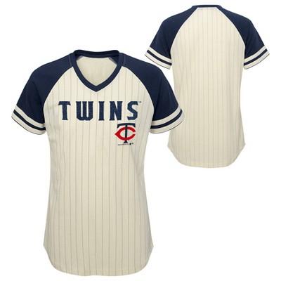 MLB Minnesota Twins Girls' Pinstripe V-Neck T-Shirt