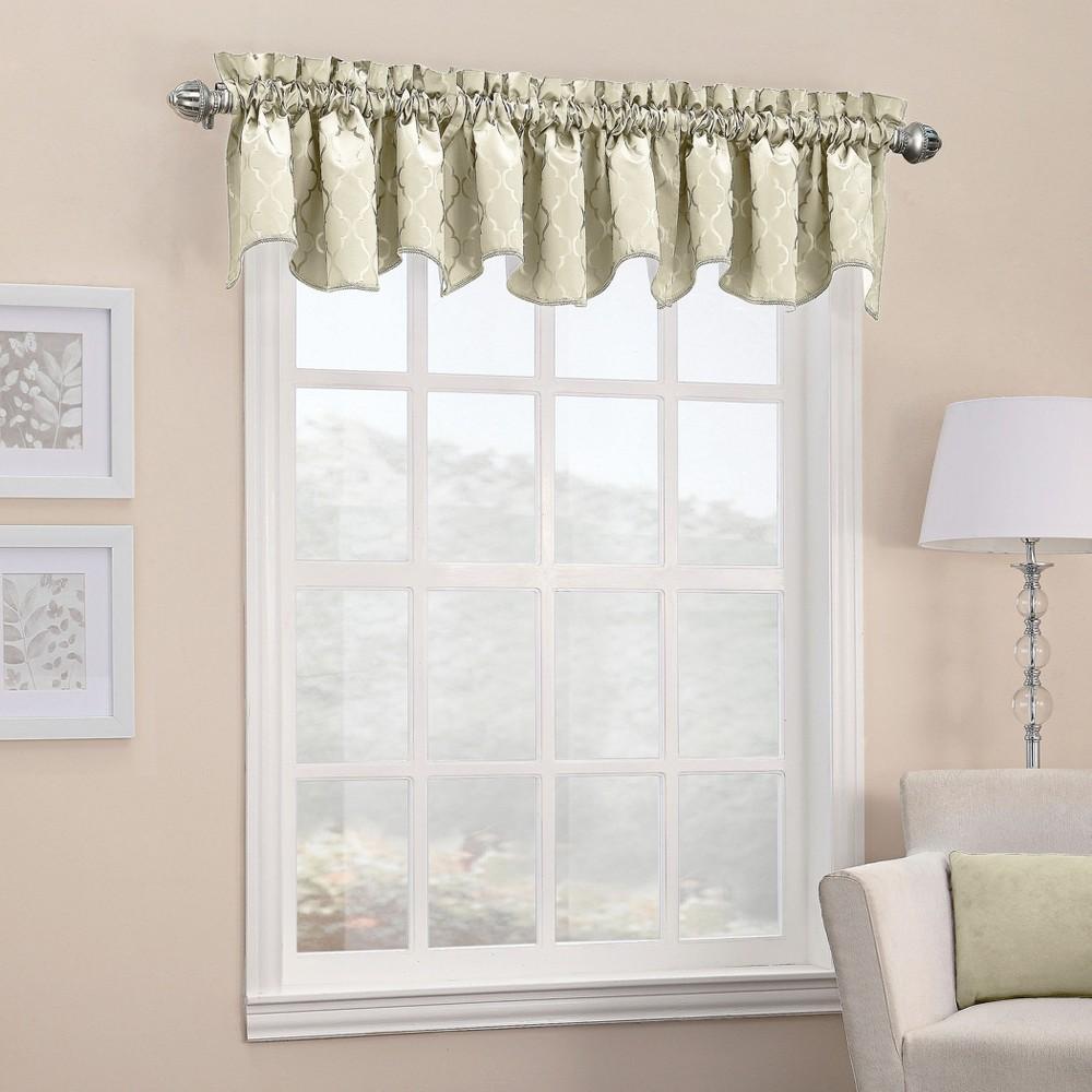 Viviana Woven Trellis Rod Pocket Curtain Valance Ivory 40x18 - Sun Zero