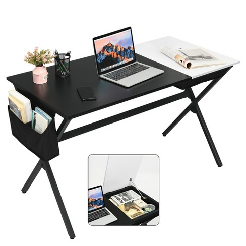 Costway Computer Desk Writing Study Laptop Table w/ Drawer & Storage Bag Walnut\Black - image 1 of 4