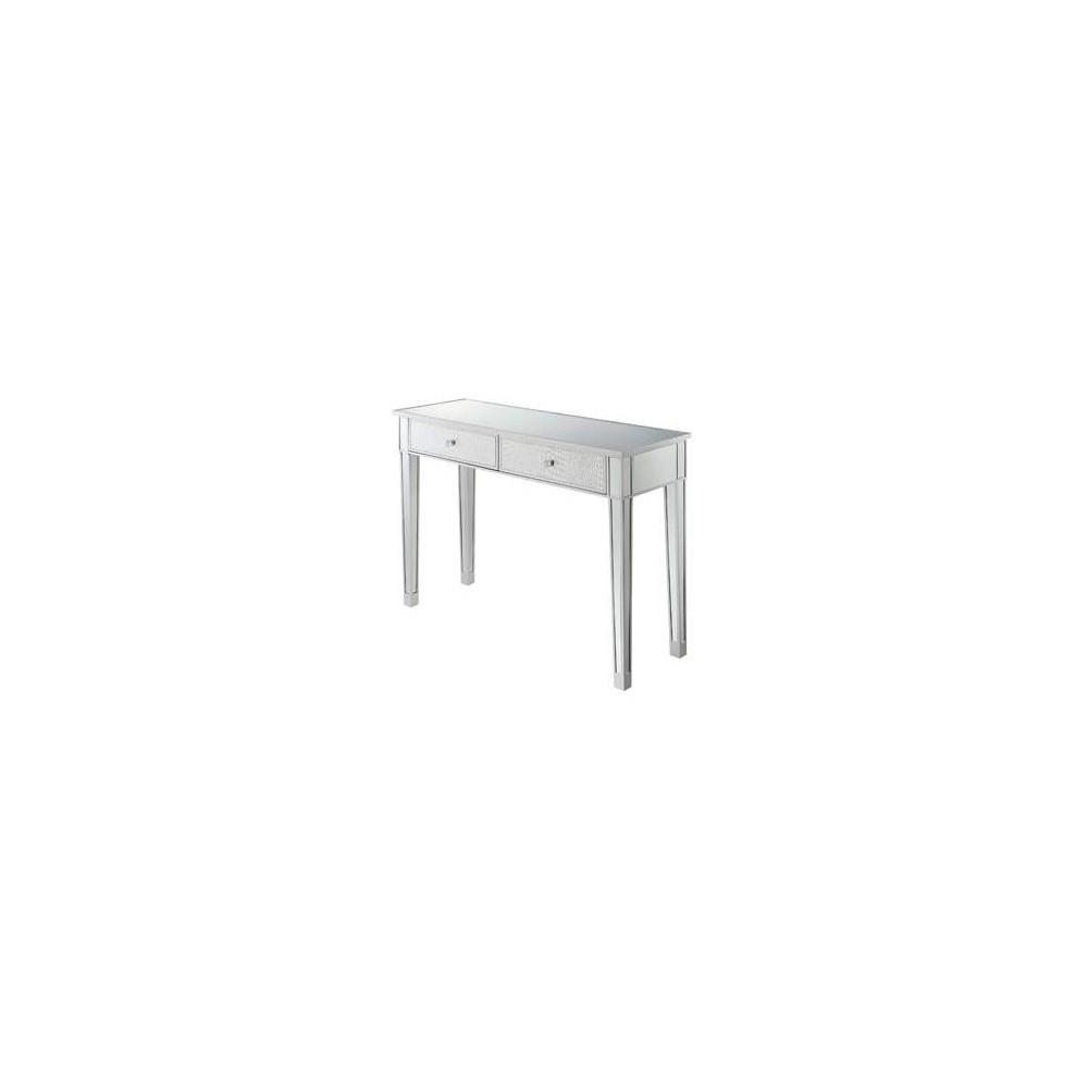 Gold Coast Mirrored Desk Silver - Johar Furniture Gold Coast Mirrored Desk Silver - Johar Furniture