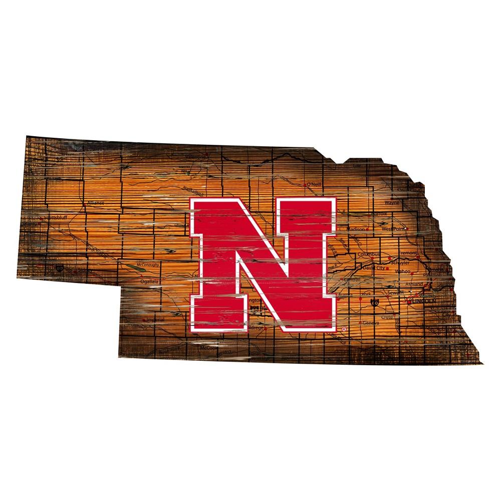 Nebraska Cornhuskers Distressed Logo State Sign