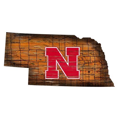 "NCAA Nebraska Cornhuskers 12"" State Map Wood Sign - image 1 of 1"