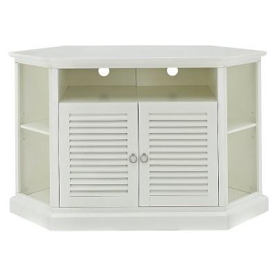 "Wood Corner Storage Console TV Stand for TVs up to 58"" White - Saracina Home"