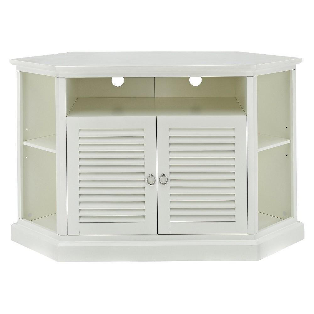 "Image of ""52"""" Wood Corner TV Media Stand Storage Console - White - Saracina Home"""