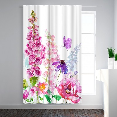 Americanflat Foxglove Floral by Harrison Ripley Blackout Rod Pocket Single Curtain Panel 50x84