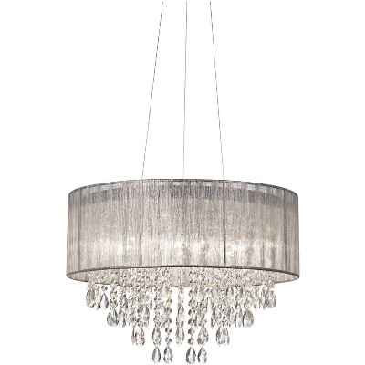 """Possini Euro Design Chrome Drum Chandelier 20"""" Wide Modern Crystal Silver Fabric Shade Fixture for Dining Room House Foyer Kitchen"""