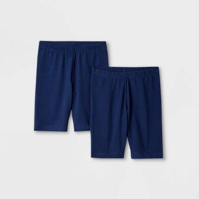 Girls' 2pk Mid-Length Bike Shorts - Cat & Jack™ Navy