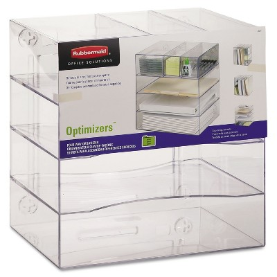Rubbermaid Optimizers Four-Way Organizer with Drawers Plastic 10 x 13 1/4 x 13 1/4 Clear 94600ROS