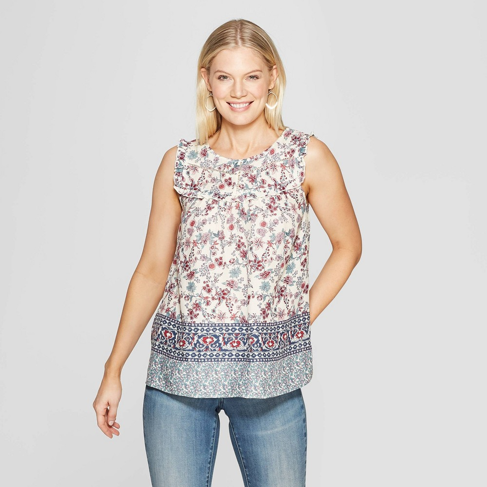 Women's Floral Print Sleeveless Crewneck Tank Top - Knox Rose Ivory XS, White