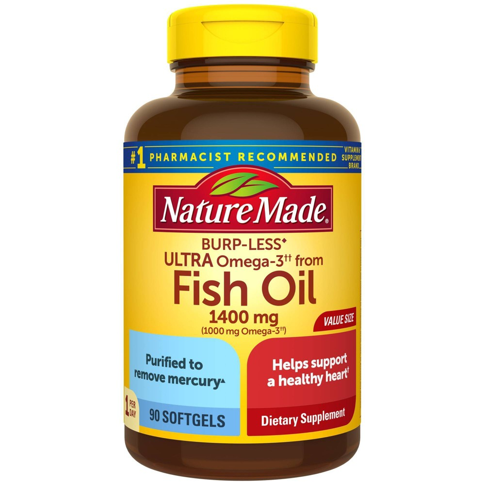 Nature Made Burp Less Ultra Omega Fish Oil 1400 Mg Softgels 90ct
