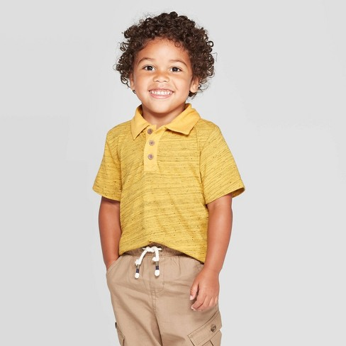 Toddler Boys' Specialty Jersey Short Sleeve Polo Shirt - Cat & Jack™ Heather Yellow - image 1 of 3