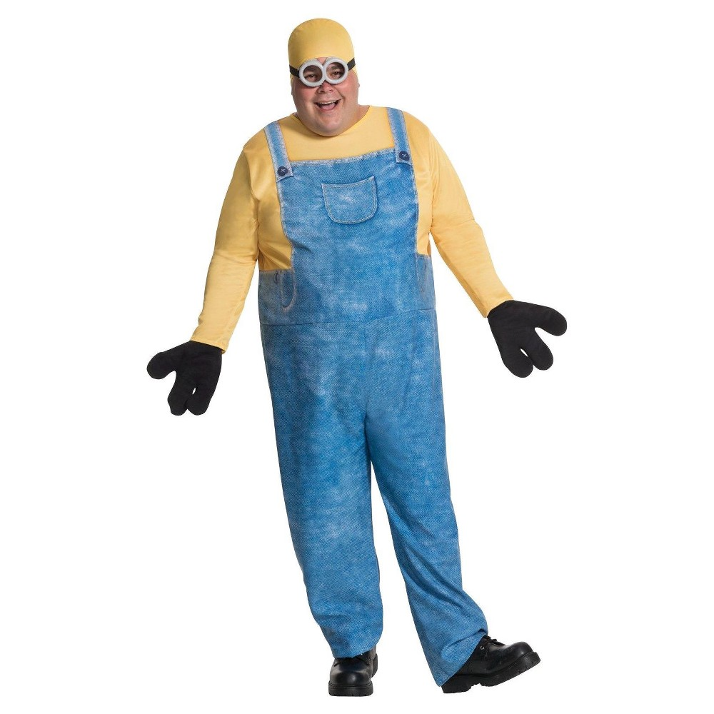 Image of Halloween Minions Movie Men's Bob Costume Plus Size, Size: Small, Yellow