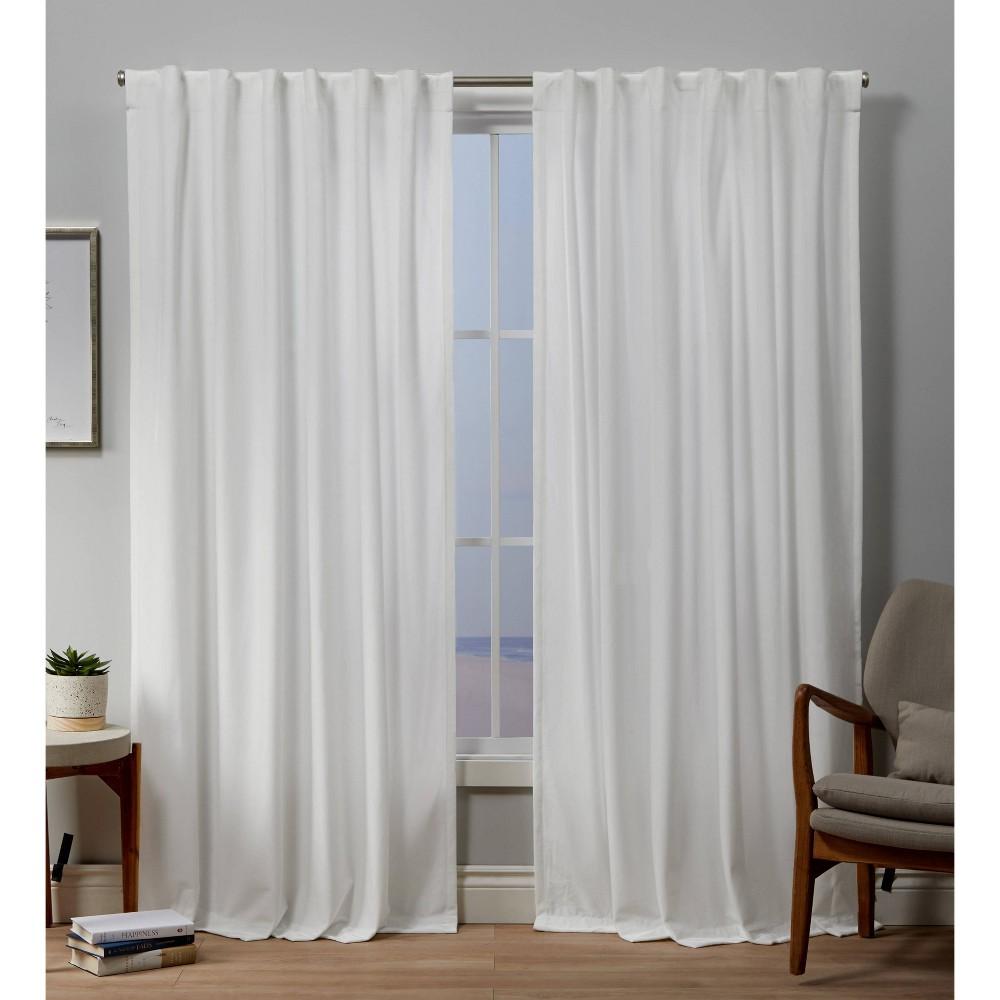 96 34 X54 34 Velvet Back Tab Light Filtering Window Curtain Panels White Exclusive Home