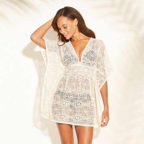 Womens Crochet Cut Out Back Cover Up Dress Xhilaration White S