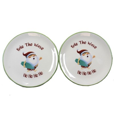 "Tabletop 8.25"" Ride The Wave Santa Plate Set Of Two Surf Board Beachcombers Coastal Life  -  Dining Plates"