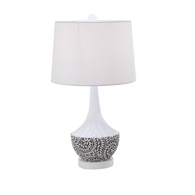 """16"""" x 31"""" Eclectic Polystone Table Lamp with White Drum Shade White/Black - Olivia & May"""