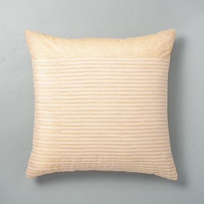 """24"""" x 24"""" Faded Stripe Oversized Throw Pillow Yellow - Hearth & Hand™ with Magnolia"""