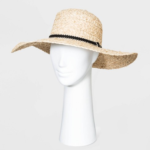 Women's Straw Boater Hats - Universal Thread™ Natural One Size - image 1 of 1