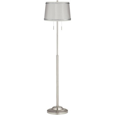360 Lighting Modern Floor Lamp Brushed Nickel Crystal Beaded White Drum Shade for Living Room Reading Bedroom Office