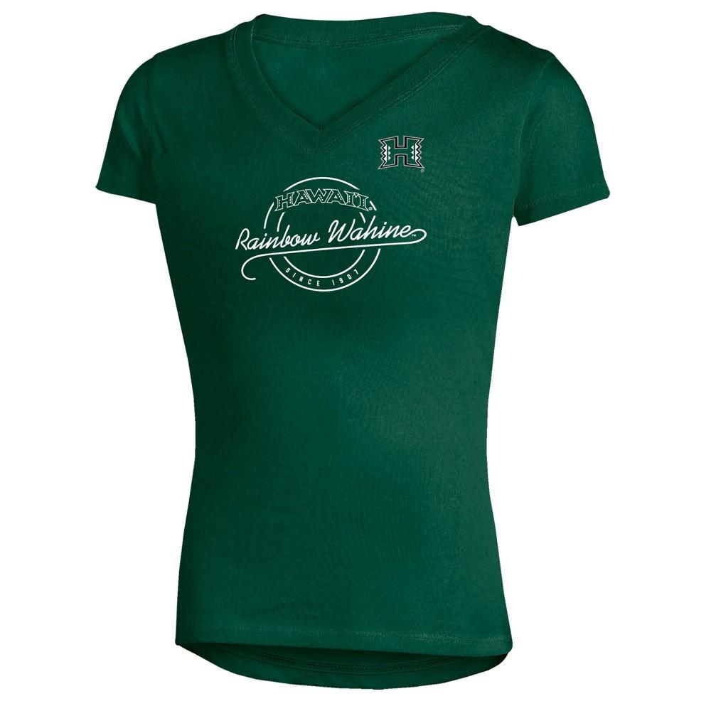 Hawaii Rainbow Warriors Girls' Short Sleeve Puff Print V-Neck Tunic T-Shirt - XS, Multicolored