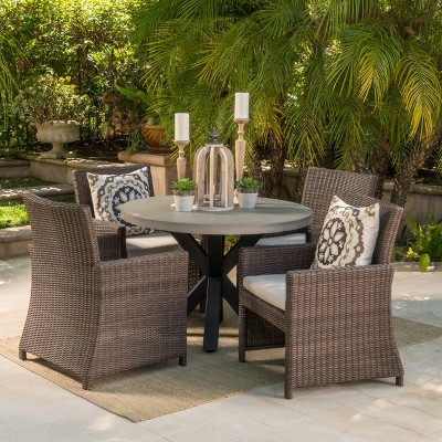 Athena 5pc Wicker Dining Set With Table And Sunbrella Cushions   Mixed  Brown   Christopher Knight Home : Target