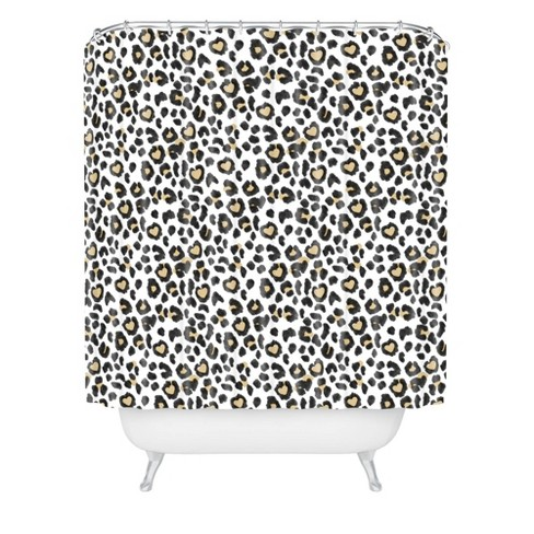 dash and ash leopard heart shower curtain brown deny designs