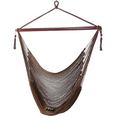 Mocha Caribbean Hanging Rope Hammock Chair - Brown - Sunnydaze Decor